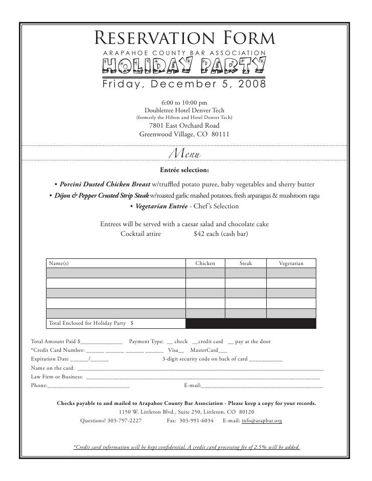 Holiday Party Reservation Form