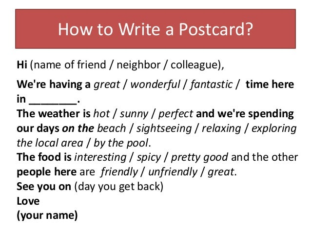 Holiday postcard how to write