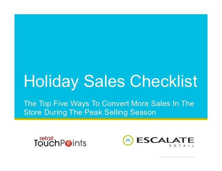 Holiday Sales Checklist The Top Five Ways To Convert More Sales In The Store During The Peak Selling Season               ...