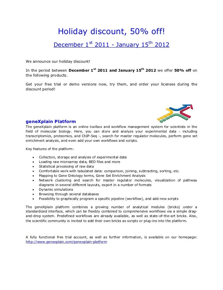 Holiday discount, 50% off!                December 1st 2011 - January 15th 2012We announce our holiday discount!In the per...