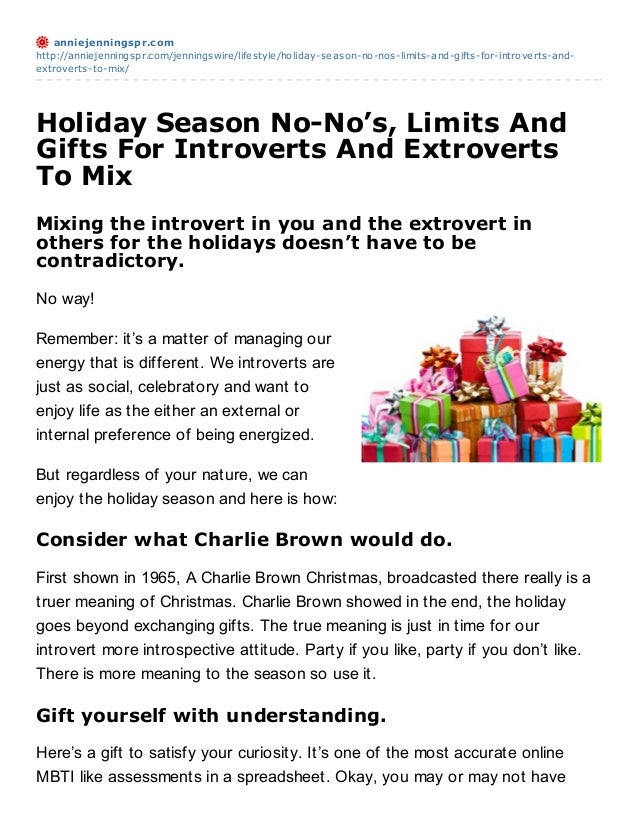 anniejenningspr.comhttp://anniejenningspr.com/jenningswire/lifestyle/holiday-season-no-nos-limits-and-gifts-for-introverts...