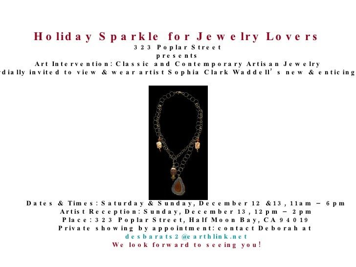 Holiday Sparkle for Jewelry Lovers 323 Poplar Street presents Art Intervention: Classic and Contemporary Artisan Jewelry Y...