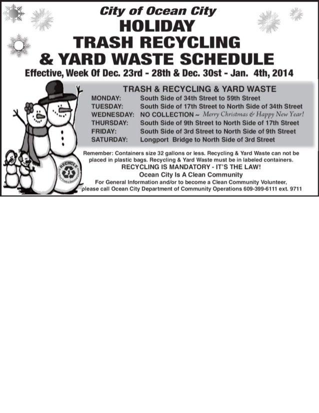 Ocean City holiday trash schedule