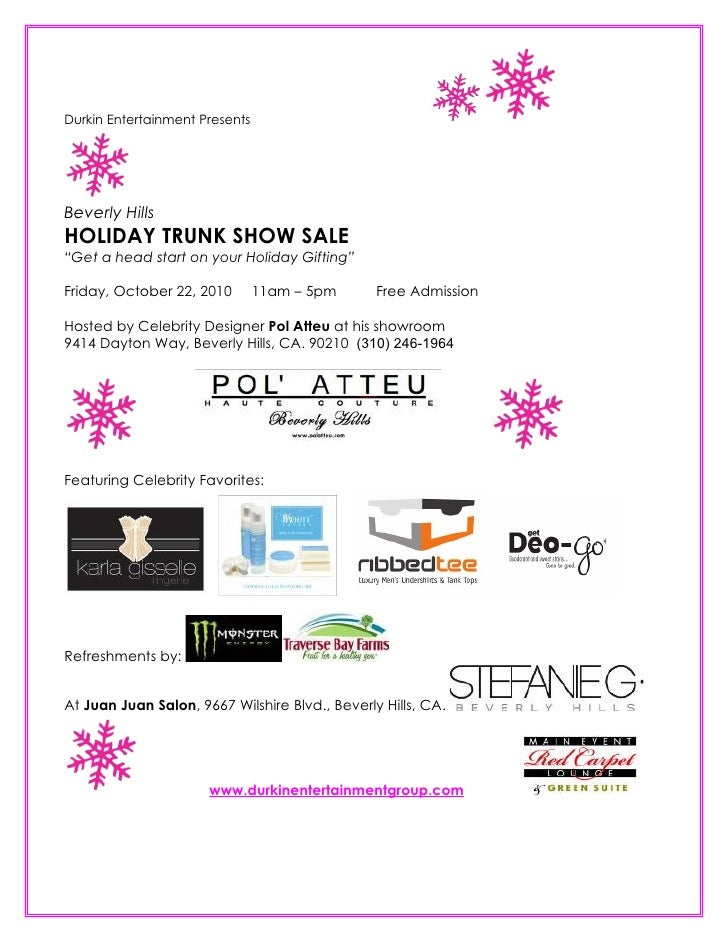 """Durkin Entertainment Presents     Beverly Hills HOLIDAY TRUNK SHOW SALE """"Get a head start on your Holiday Gifting""""  Friday..."""