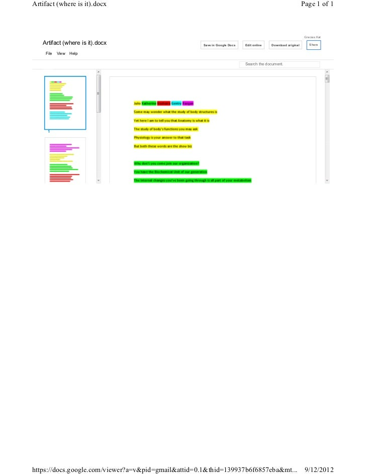 Artifact (where is it).docx                                                                                 Page 1 of 1   ...