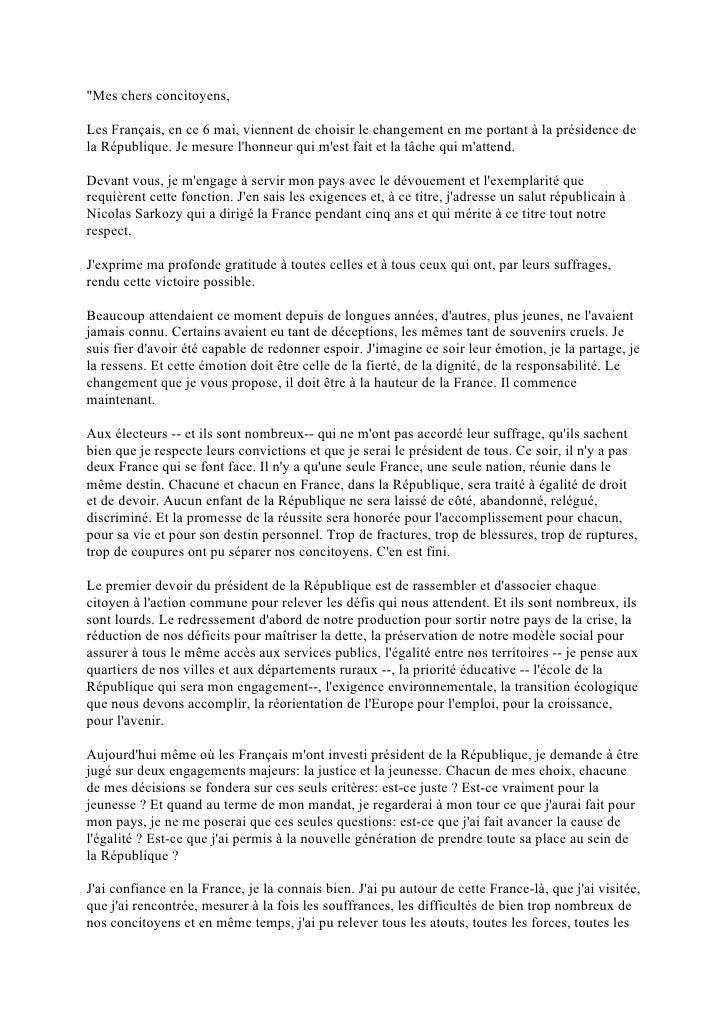 """""""Mes chers concitoyens,Les Français, en ce 6 mai, viennent de choisir le changement en me portant à la présidence dela Rép..."""