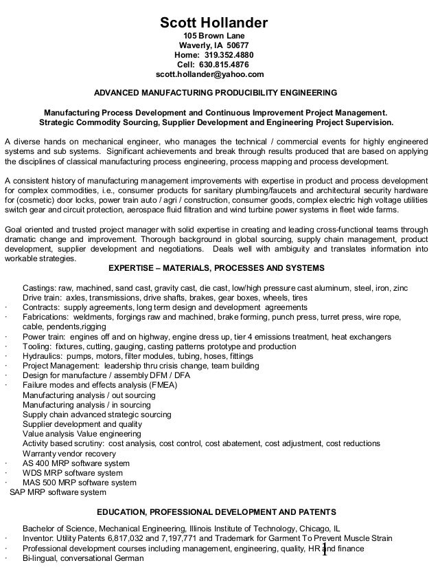 Hollander resume advanced manufacturing process delvelopment continuo…
