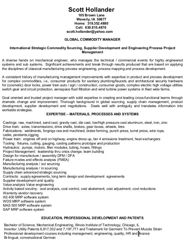Hollander resume international strategic sourcing supplier developmen