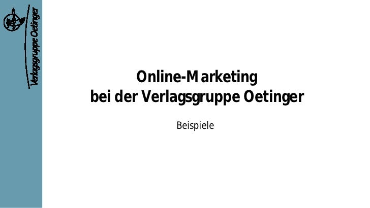 Online-Marketing bei der Verlagsgruppe Oetinger             Beispiele