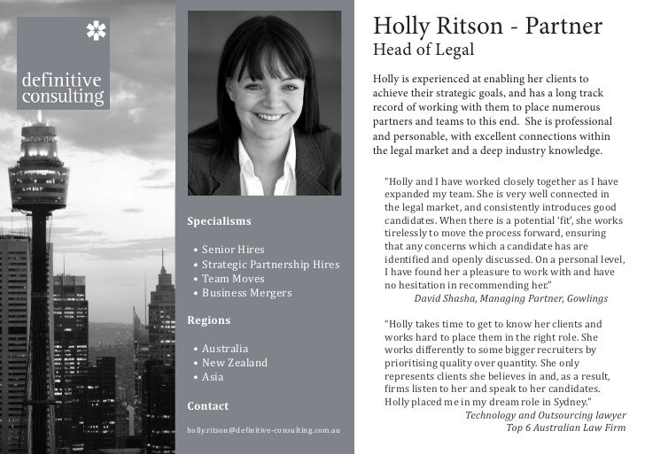 Consultant name                                            Holly Ritson - Partner                                         ...