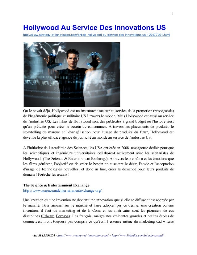 1  Hollywood Au Service Des Innovations US  http://www.strategy­of­innovation.com/article­hollywood­au­service­des­inn...