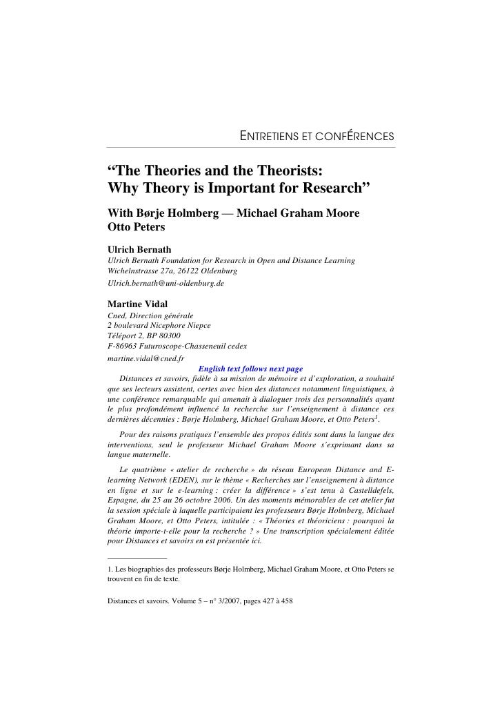 "ENTRETIENS ET CONFÉRENCES  ""The Theories and the Theorists: Why Theory is Important for Research"" With Børje Holmberg — Mi..."