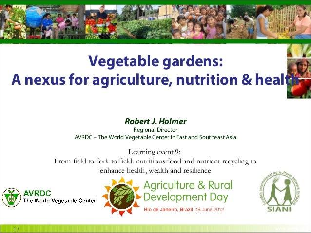 The World Vegetable Centervegetables + development           Vegetable gardens:A nexus for agriculture, nutrition & health...