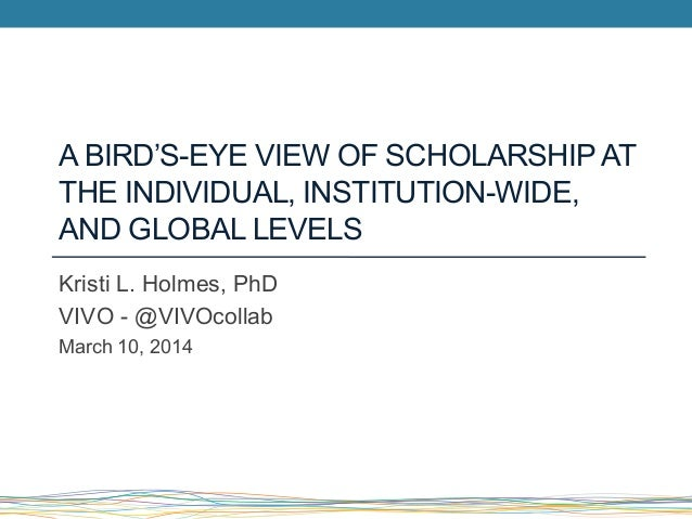 A BIRD'S-EYE VIEW OF SCHOLARSHIPAT THE INDIVIDUAL, INSTITUTION-WIDE, AND GLOBAL LEVELS Kristi L. Holmes, PhD VIVO - @VIVOc...