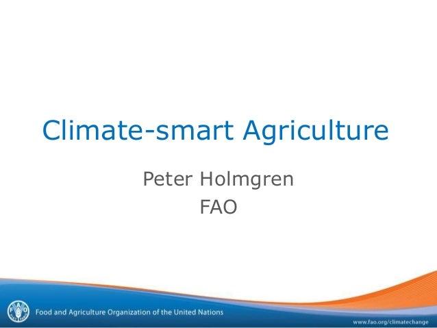 Climate-smart AgriculturePeter HolmgrenFAO