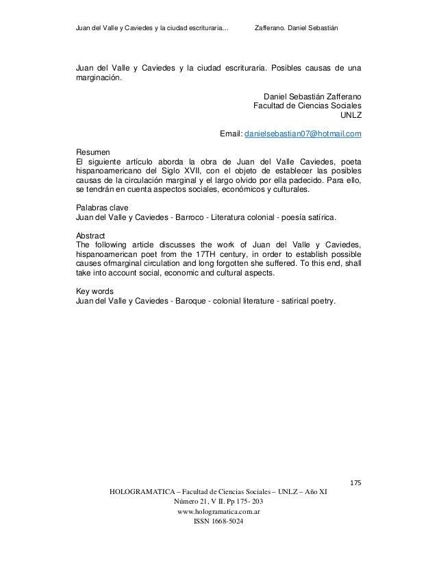 Juan del Valle y Caviedes y la ciudad escrituraria… Zafferano. Daniel Sebastián   175 HOLOGRAMATICA – Facultad de Cienc...