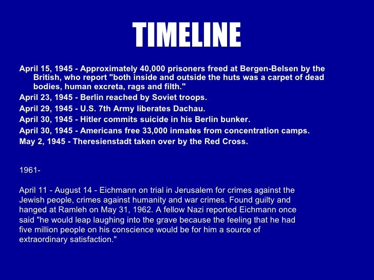 timeline of holocaust Adolf hitler was an austrian-born german politician and the leader of the nazi party he was chancellor of germany from 1933 to 1945 and dictator of nazi germany from 1934 to 1945 hitler was at the centre of nazi germany, world war ii in europe, and the holocaust.
