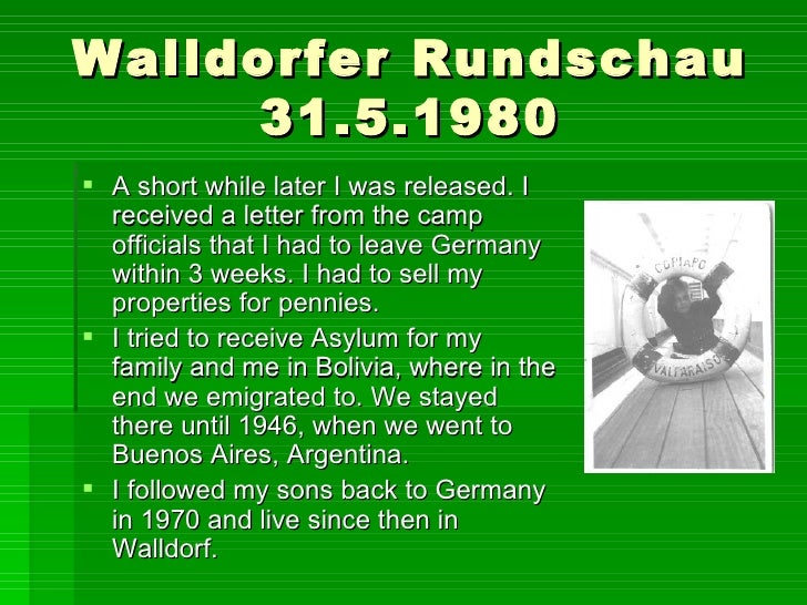 Walldorfer Rundschau 31.5.1980 <ul><li>A short while later I was released. I received a letter from the camp officials tha...