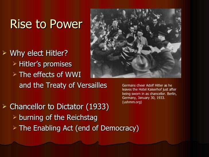why hitler able rise power germany 1933 On the 30th of january 1933, hitler was appointed chancellor why had and the nazi's rise to power hitler was born hitler was able to rise to.