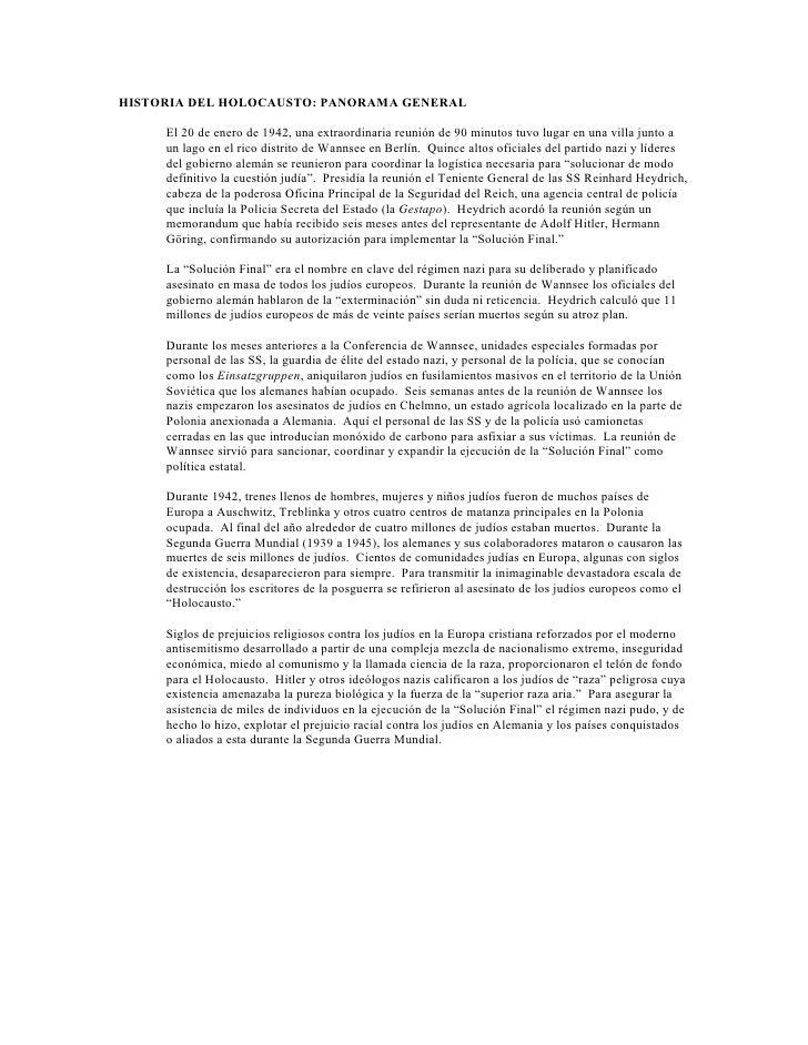 HISTORIA DEL HOLOCAUSTO: PANORAMA GENERAL       El 20 de enero de 1942, una extraordinaria reunión de 90 minutos tuvo luga...