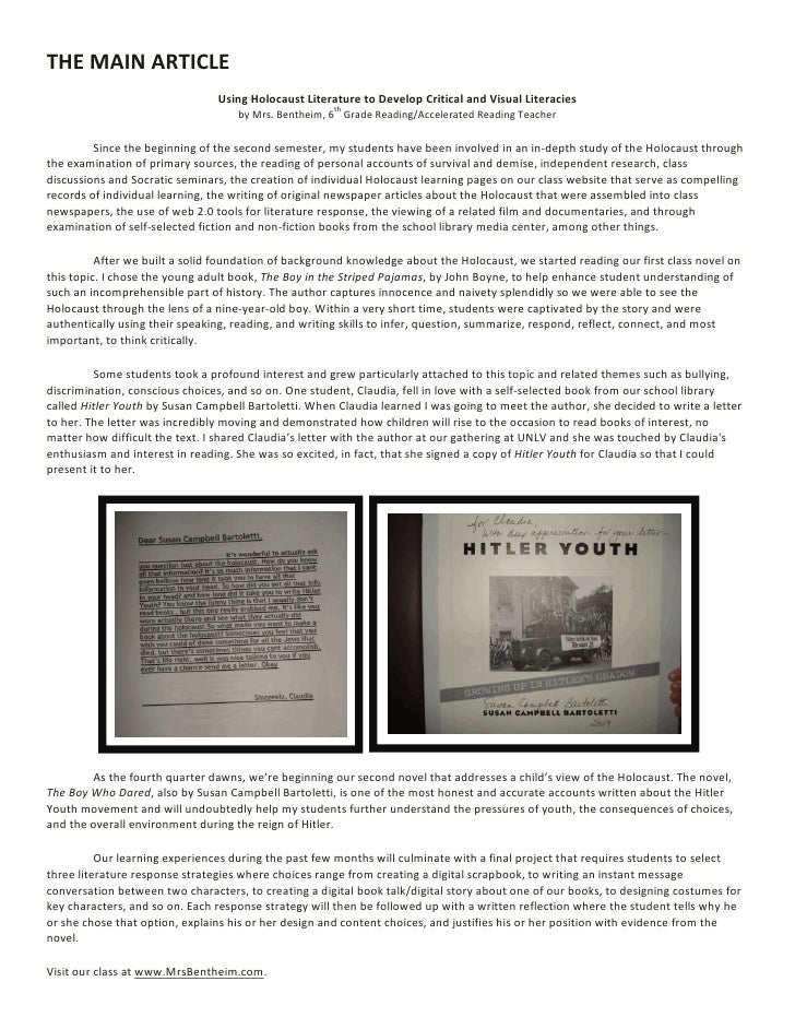 THE MAIN ARTICLE                                 Using Holocaust Literature to Develop Critical and Visual Literacies     ...