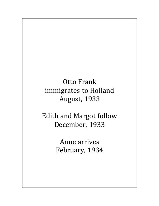 Otto Frank immigrates to Holland August, 1933 Edith and Margot follow December, 1933 Anne arrives February, 1934