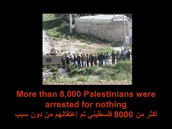 More than 8,000 Palestinians were arrested for nothing أكثر من  8000  فلسطيني تم إعتقالهم من دون سبب