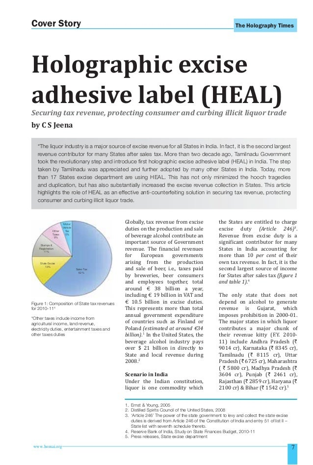 Cover Story  The Holography Times  Holographic excise adhesive label (HEAL) Securing tax revenue, protecting consumer and ...