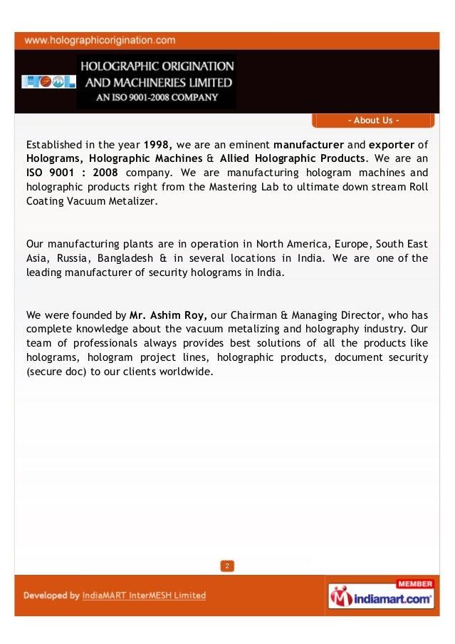 Holographic Origination and Machineries Limited, Kolkata , Holograms Slide 2