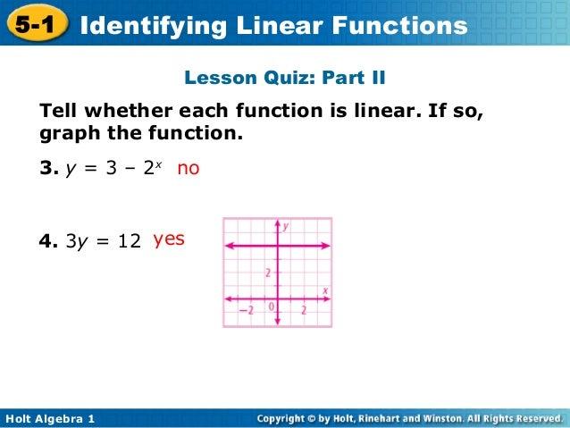 Holt alg1 ch5 1 identify linear functions