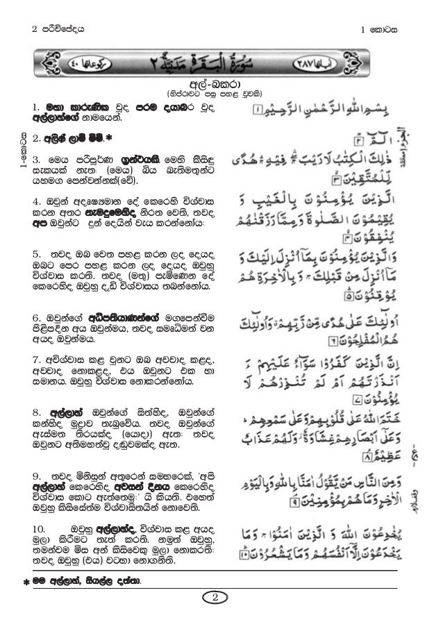 The Holy Qur'an Arabic Text and Sinhala Translation 10 Parts Slide 3