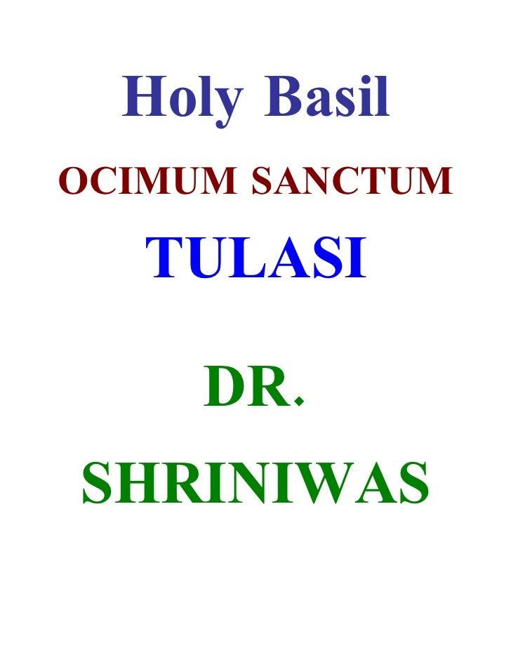 Holy Basil OCIMUM SANCTUM     TULASI       DR. SHRINIWAS