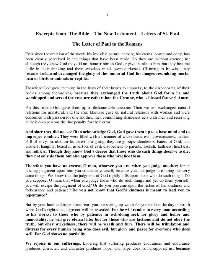1      Excerpts from 'The Bible – The New Testament – Letters of St. Paul                             The Letter of Paul t...