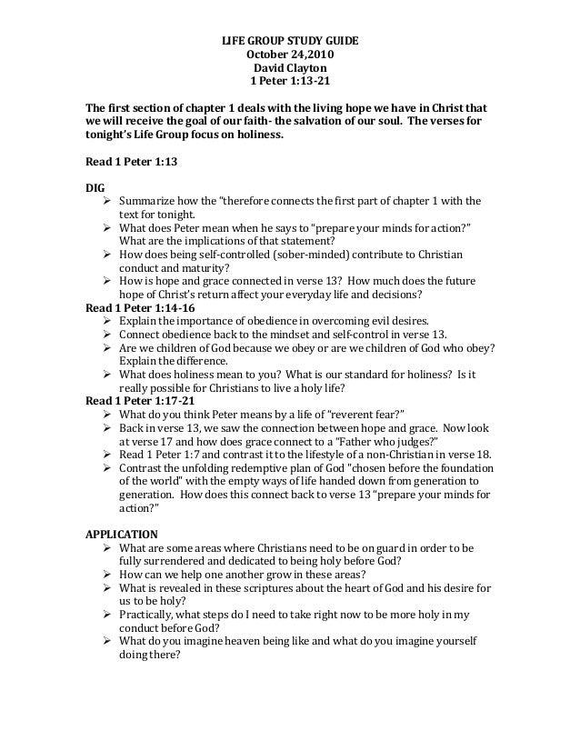 LIFE  GROUP  STUDY  GUIDE   October  24,2010   David  Clayton   1  Peter  1:13-21      The  fir...