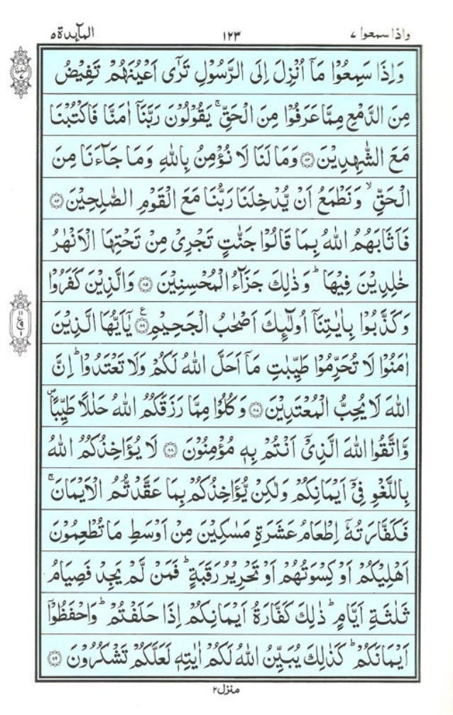 Holy Quran | Para 7 | وَإِذَا سَمِعُوا | PDF (قرآن پارہ ٧)