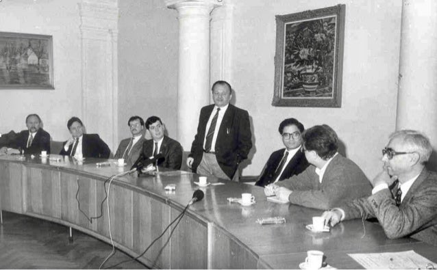 Prof Antonín Holý (standing); Gilead Sciences officers (L to R)  Mick Hitchcock, Bill Lee, Norbert Bischofberger, John Mar...