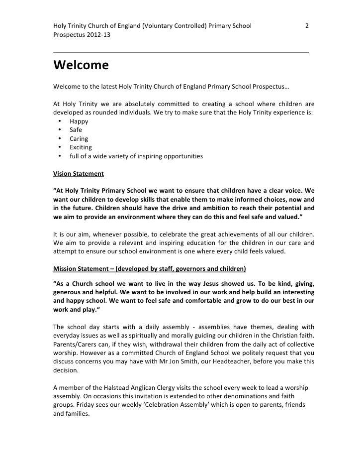 Holy Trinity C of E Primary School Prospectus 2012-2013