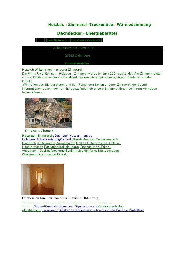 Uwe Reinsch   Holzbau - Zimmerei   Oldenburg