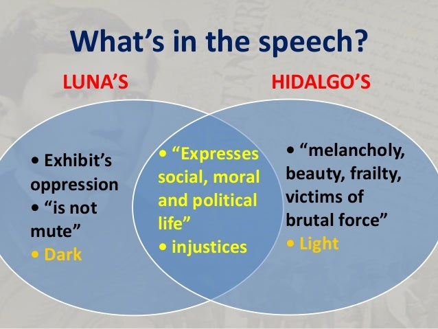 speech of rizal in honor of luna and hidalgo (full text of rizal's speech at a banquet in honor of juan luna and felix  resurreccion hidalgo, madrid, spain, june 25, 1884) in rising to speak i have no  fear.