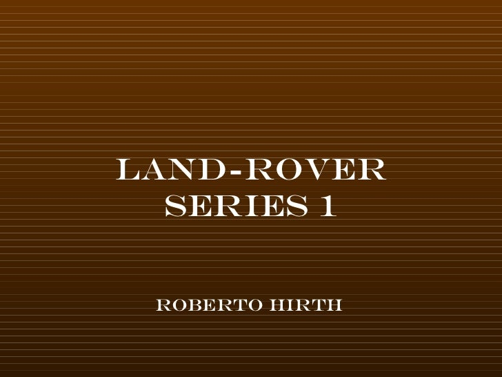 Homage to the series 1 land rover