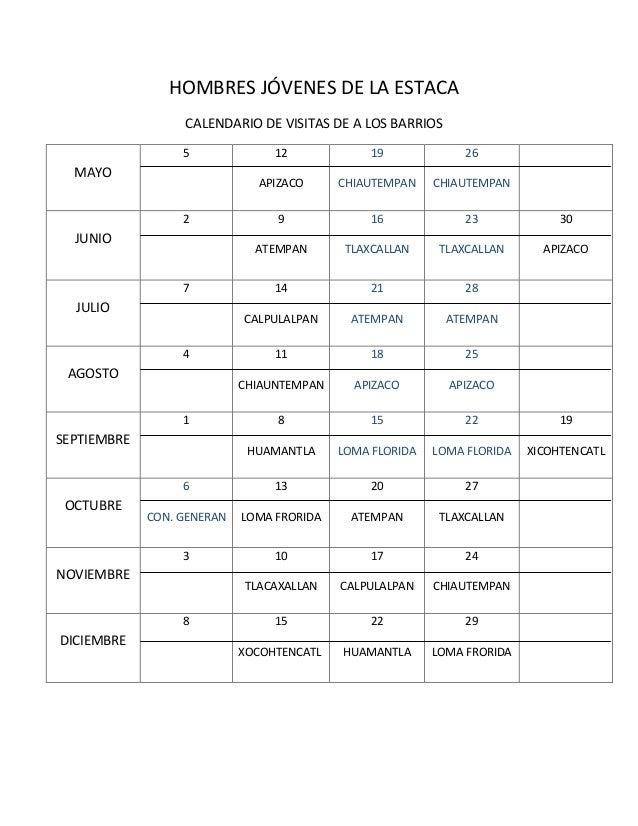 HOMBRES JÓVENES DE LA ESTACACALENDARIO DE VISITAS DE A LOS BARRIOSMAYO5 12APIZACO19CHIAUTEMPAN26CHIAUTEMPANJUNIO2 9ATEMPAN...