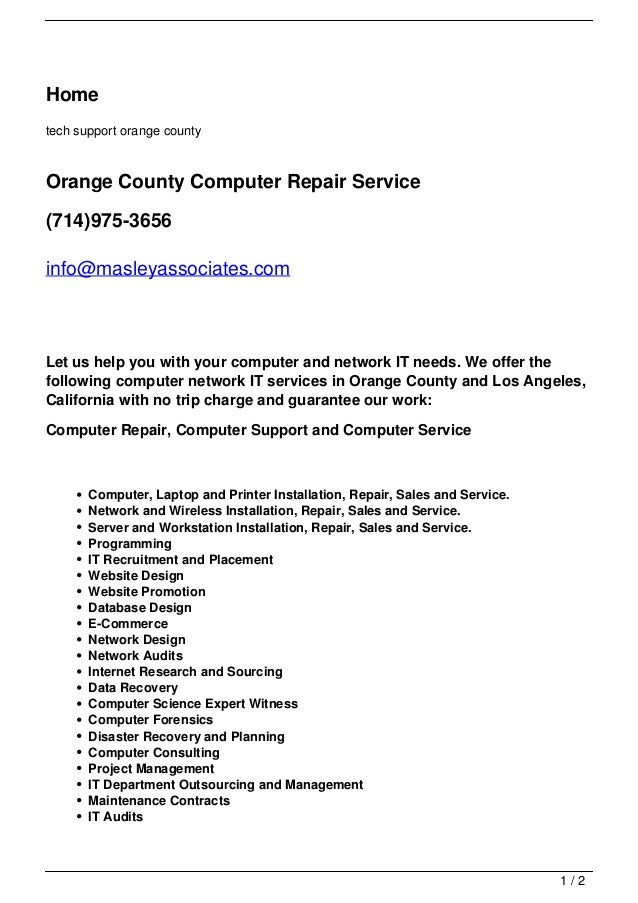Hometech support orange countyOrange County Computer Repair Service(714)975-3656info@masleyassociates.comLet us help you w...