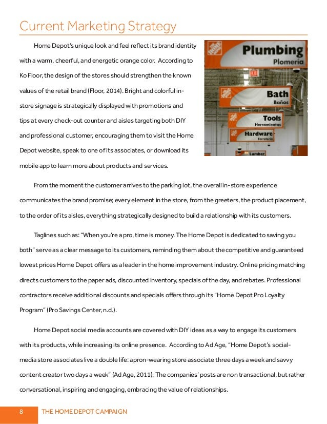 marketing and home depot essay Home depot and lowe's analytical essay by calwriter  home depot's competition home depot's marketing strategy  cite this analytical essay: apa format.