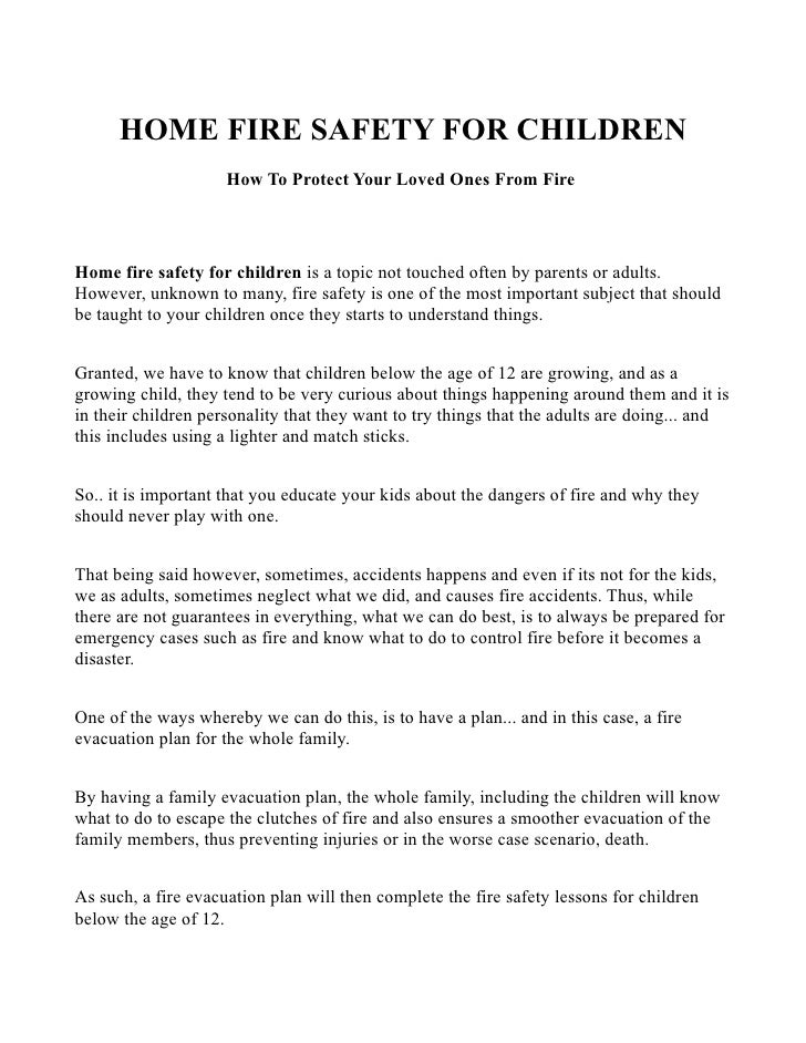 fire safety for children at home