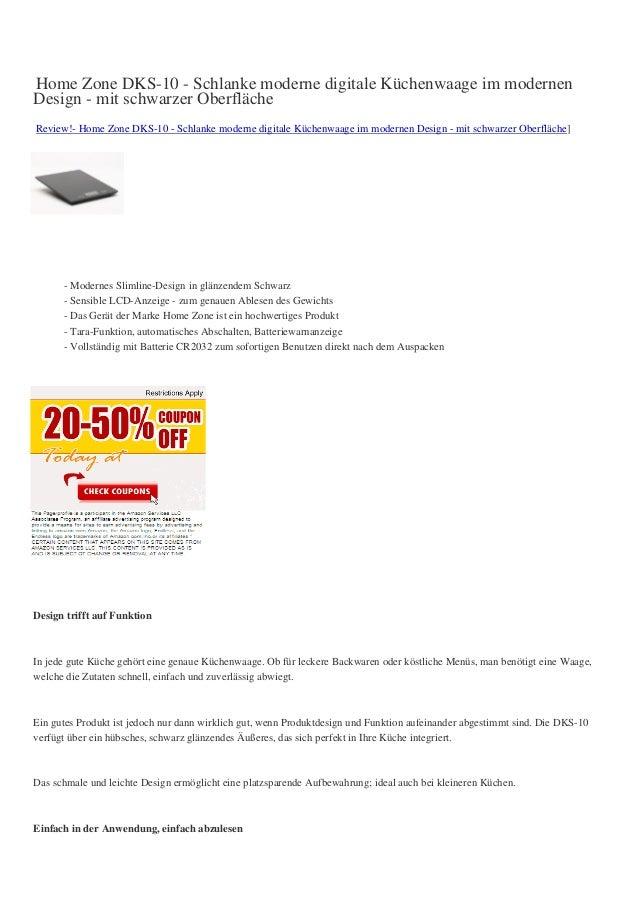 Home Zone DKS-10 - Schlanke moderne digitale Küchenwaage im modernenDesign - mit schwarzer OberflächeReview!- Home Zone DK...