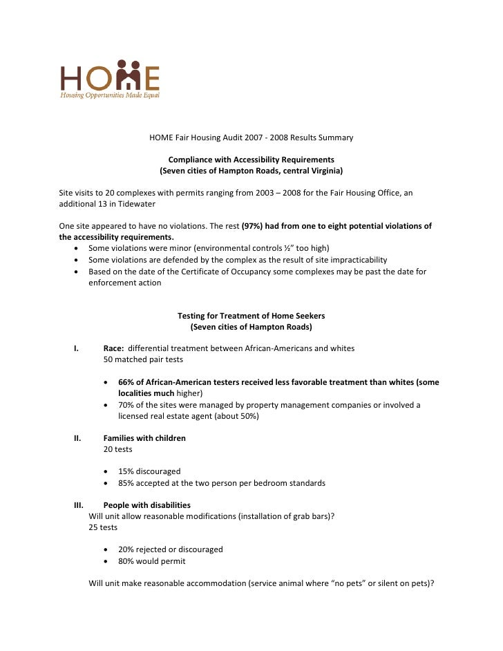 HOME Fair Housing Audit 2007 - 2008 Results Summary                                  Compliance with Accessibility Require...