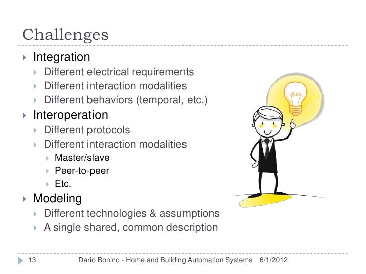 Challenges    Integration        Different electrical requirements        Different interaction modalities        Diff...