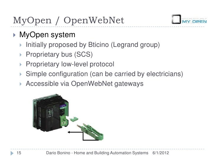MyOpen / OpenWebNet    MyOpen system        Initially proposed by Bticino (Legrand group)        Proprietary bus (SCS) ...