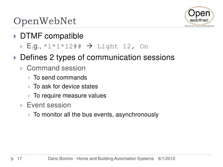 OpenWebNet    DTMF compatible        E.g., *1*1*12##  Light 12, On    Defines 2 types of communication sessions      ...