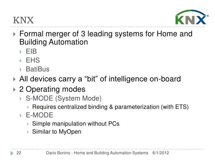 KNX    Formal merger of 3 leading systems for Home and     Building Automation        EIB        EHS        BatiBus  ...